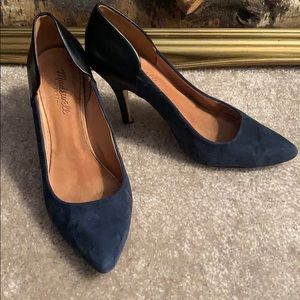 "Madewell ""Maddie"" Black Leather/Navy Suede Pumps"
